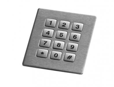 Digicode inox 12 touches carrées de 12mm compatible avec un montage par l'avant