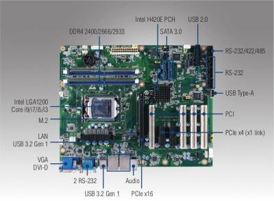 Carte mère ATX compatible Intel 10th generation CoreTM i9/i7/i5/i3, DVI/VGA, DDR4, USB 3.2, M.2, 6 COM