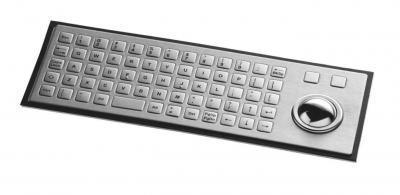 Clavier inox 64 touches carrées 12.5mm avec trackball inox et montage par l'arrière