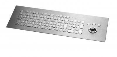 Clavier inox avec pavé numérique (98 touches rondes ø17) avec trackball montage par l'avant
