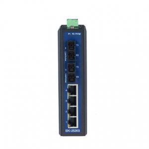 Switch Rail DIN industriel 4 ports + 2 ports fibre Single Mode non managé