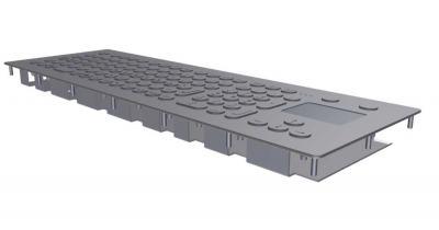 Clavier inox 105 touches avec touchpad montage panneau par l'avant