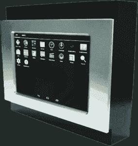 Interface Homme-Machine tactile résistif avec enjoliveur de face avant amovible pour encastrement mural