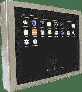 IHM tactile Multitouch capacitive PCT fanless étanche IP65 6 faces pour Android et Linux avec une face avant sans aspérité