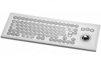 Clavier inox 85 touches rondes ø15mm avec trackball inox montage par l'avant