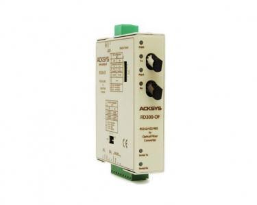 Convertisseur de média : RS232/422/485 <-> FO multimode (silice, connectique ST), format rail din