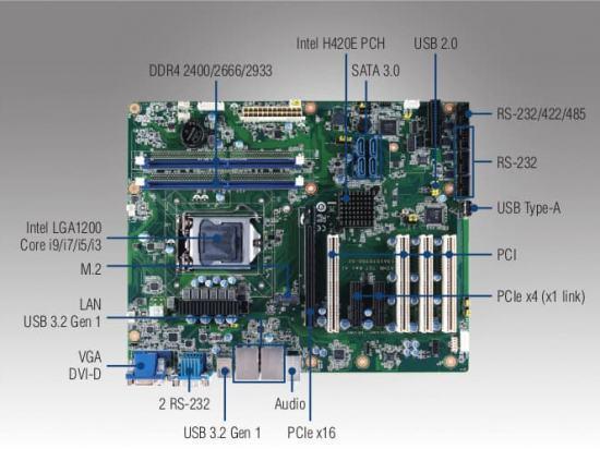 AIMB-707 Carte mère ATX compatible Intel 10th generation CoreTM i9/i7/i5/i3, DVI/VGA, DDR4, USB 3.2, M.2, 6 COM