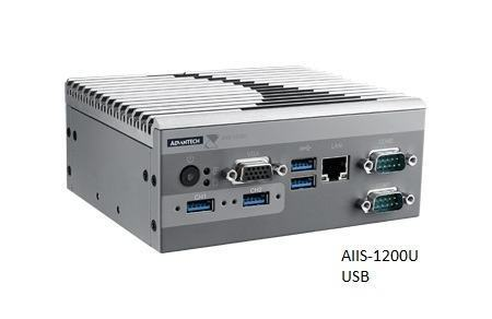 AIIS-1200P-S6A1E PC industriel pour application de vision, N3160 1.6G, 2 PoE, 1 LAN, 4 USB3.0, 2 COM, DIO