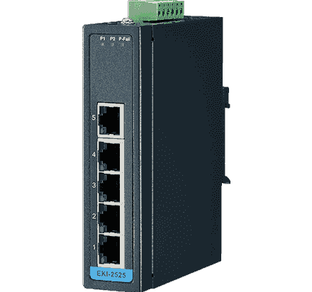 EKI-2525-BE Switch rail DIN industriel 5 ports Ethernet 10/100 Mbps en boîtier métallique et alimentation redondante