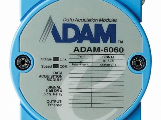 ADAM-6060-D Module ADAM Entrée/Sortie sur Ethernet Modbus TCP, MQTT et SNMP, 6 sorties Relais /6 entrées numériques