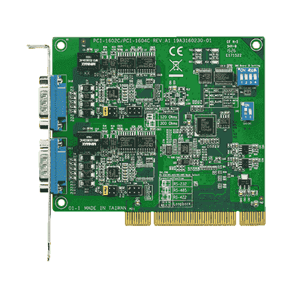 PCI-1602B-CE Carte PCI de communication série, 2 ports RS232/422/485 avec protection surtension