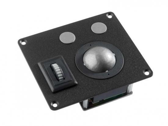 """MTSX38N8-BT1 Trackball industrielle  montage en panneau avec trous de fixation 38mm de diamètre """"Scroll & Roll"""" - Roulette de défilement et fonction clic - plaque noire Etanchéité: IP69"""