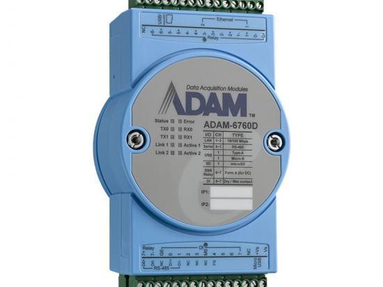 ADAM-6760D 8 sorties relais à état + 8 entrées digitales + 2x RJ45 et 2xRS-485