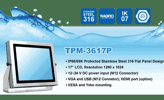 """TPM-3617P Ecran PC 17"""" IP69K en Inox 316 et IK07"""