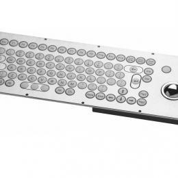 Clavier inox 85 touches rondes ø15mm avec trackball inox montage par l'arrière