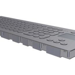 Stainless steel keyboard with 105 keys and integrated touch pad for front panel mount