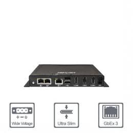 PC Fanless slim Celeron J3455 3xHDMI, 8 USB, 4xCOM, 3xRJ45