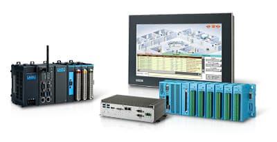 Exemple de matériel informatique industriel comme un Panel PC, un module d'acquisition, un PC Fanless et une station d'acquisition